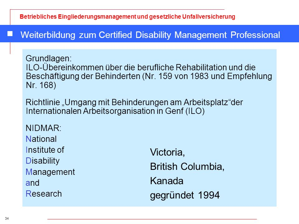 Weiterbildung zum Certified Disability Management Professional