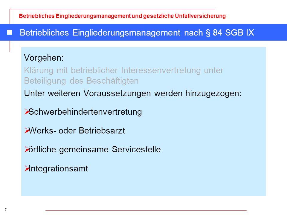 Betriebliches Eingliederungsmanagement nach § 84 SGB IX