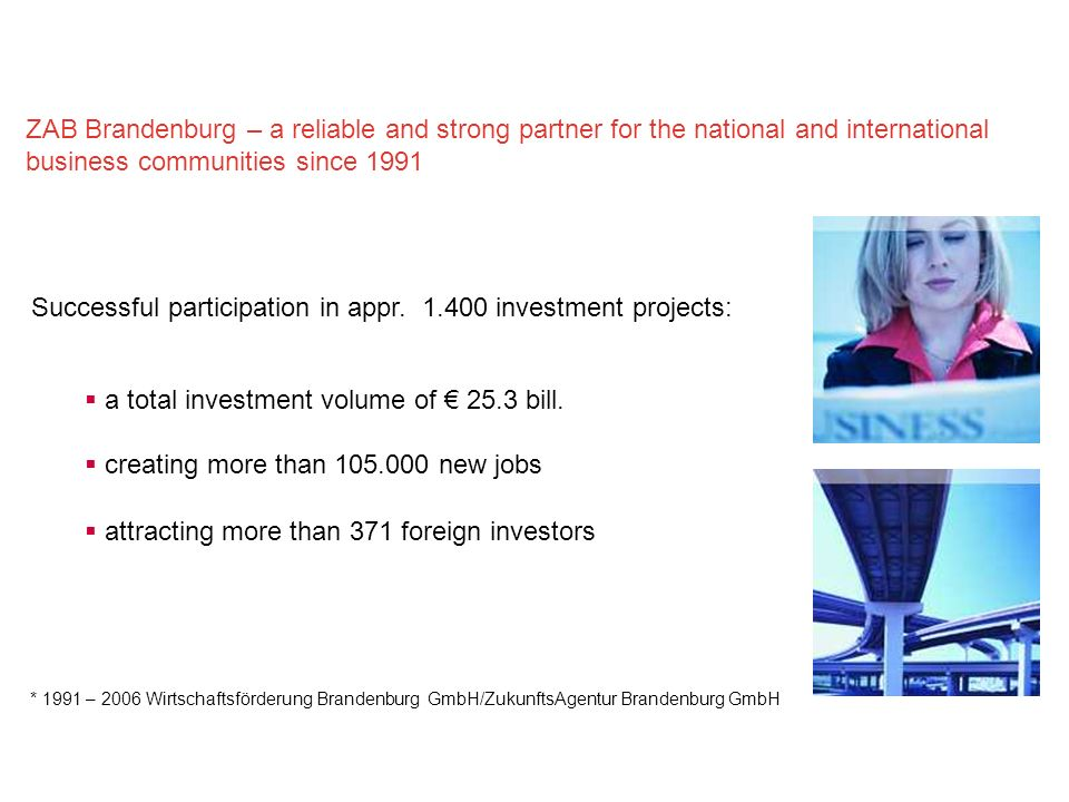 Successful participation in appr. 1.400 investment projects: