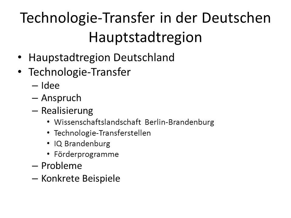 Technologie-Transfer in der Deutschen Hauptstadtregion