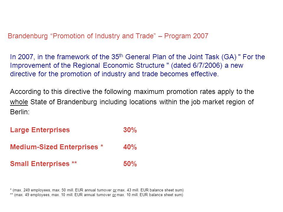 Brandenburg Promotion of Industry and Trade – Program 2007