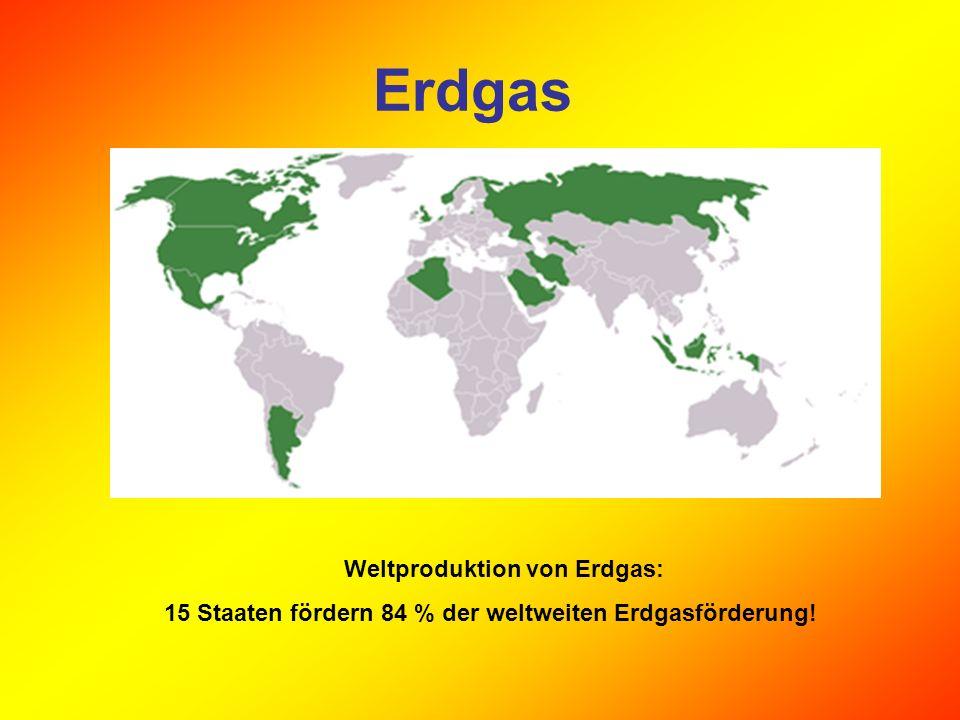 Erdgas Weltproduktion von Erdgas: