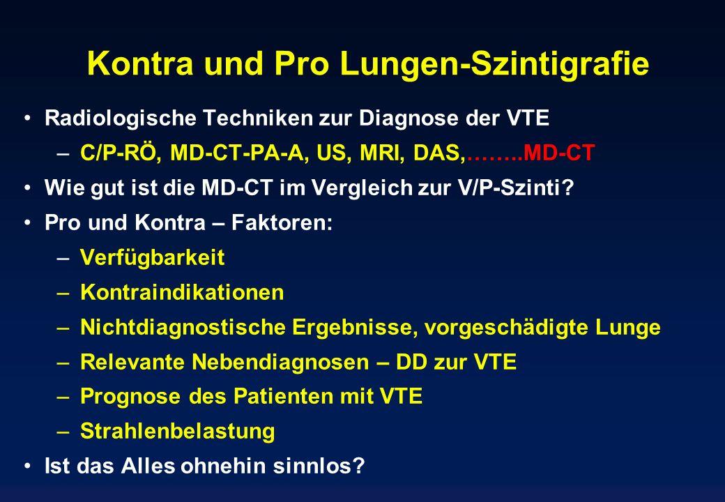 Kontra und Pro Lungen-Szintigrafie