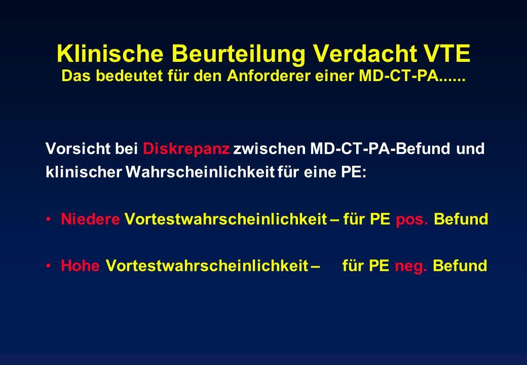 Klinische Beurteilung Verdacht VTE Das bedeutet für den Anforderer einer MD-CT-PA......