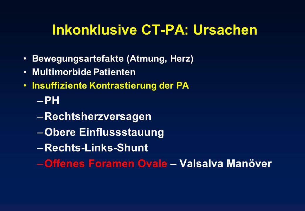 Inkonklusive CT-PA: Ursachen