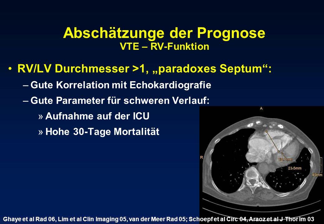 Abschätzunge der Prognose VTE – RV-Funktion