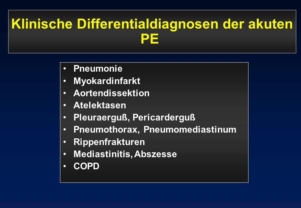 Klinische Differentialdiagnosen der akuten PE
