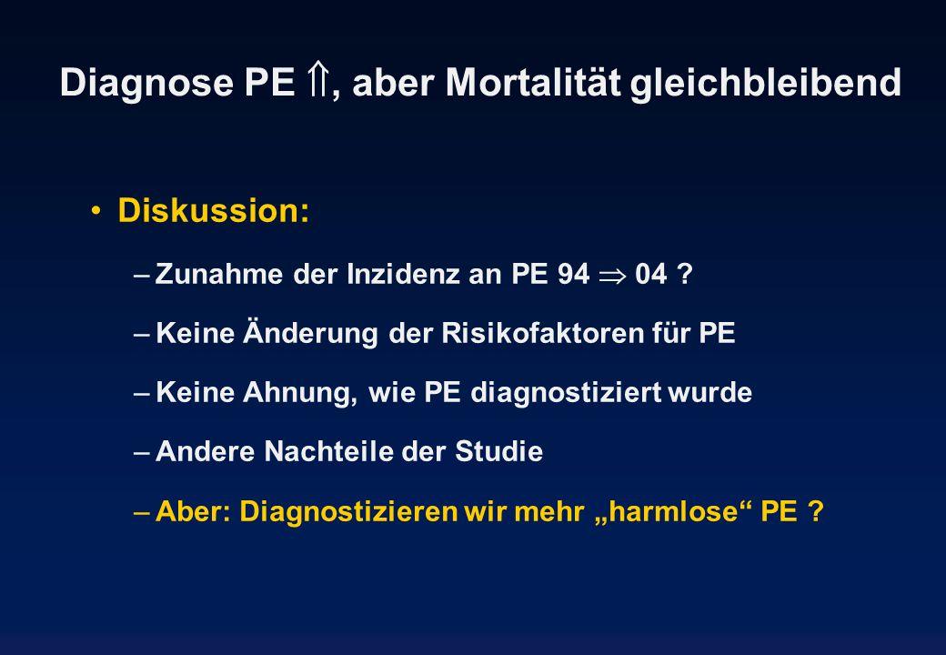 Diagnose PE , aber Mortalität gleichbleibend