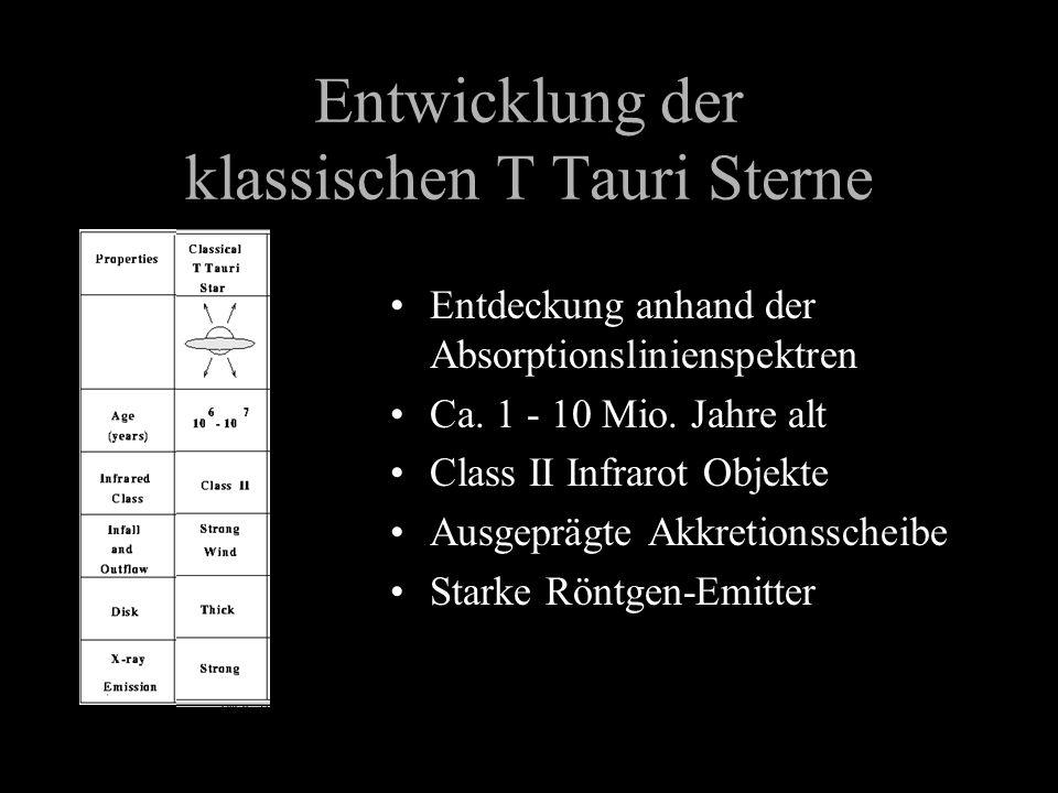 Entwicklung der klassischen T Tauri Sterne