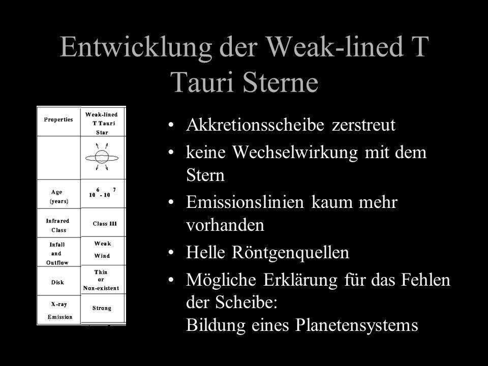 Entwicklung der Weak-lined T Tauri Sterne