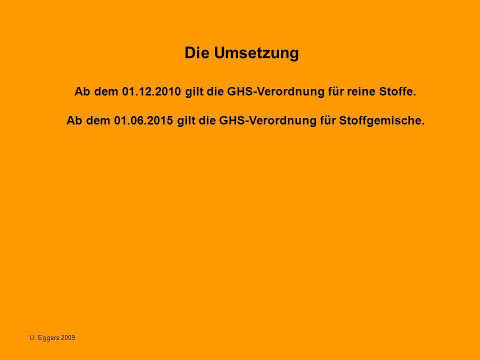 Die Umsetzung Ab dem 01.12.2010 gilt die GHS-Verordnung für reine Stoffe. Ab dem 01.06.2015 gilt die GHS-Verordnung für Stoffgemische.