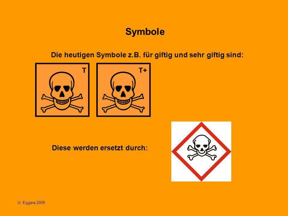 Symbole Die heutigen Symbole z.B. für giftig und sehr giftig sind: