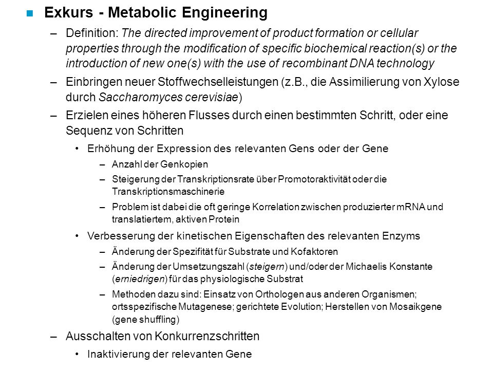 Exkurs - Metabolic Engineering