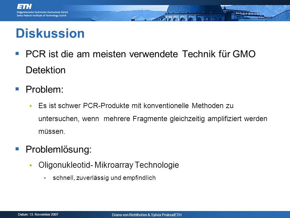 Diskussion PCR ist die am meisten verwendete Technik für GMO Detektion