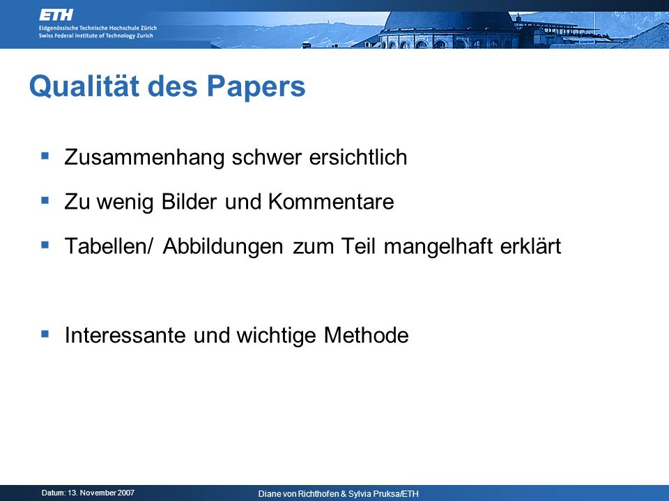 Qualität des Papers Zusammenhang schwer ersichtlich