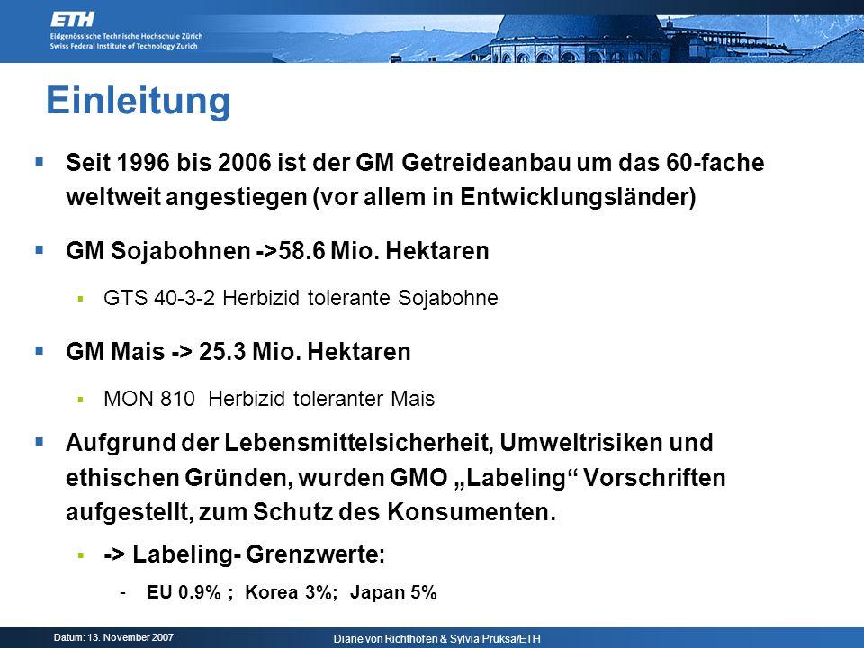 Einleitung Seit 1996 bis 2006 ist der GM Getreideanbau um das 60-fache weltweit angestiegen (vor allem in Entwicklungsländer)