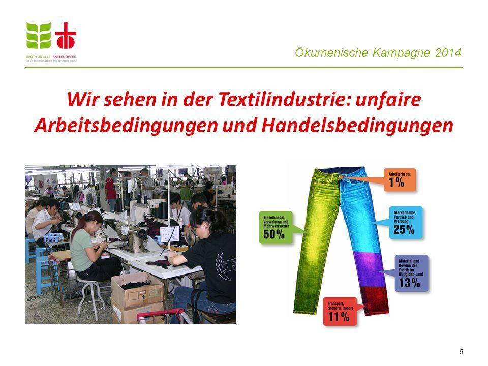 Wir sehen in der Textilindustrie: unfaire Arbeitsbedingungen und Handelsbedingungen