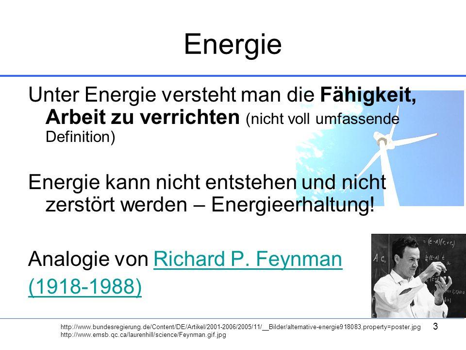 Energie Unter Energie versteht man die Fähigkeit, Arbeit zu verrichten (nicht voll umfassende Definition)