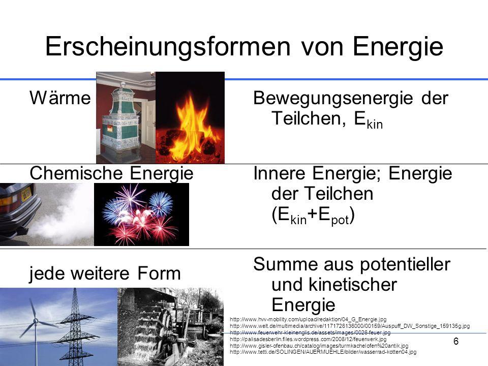 Erscheinungsformen von Energie