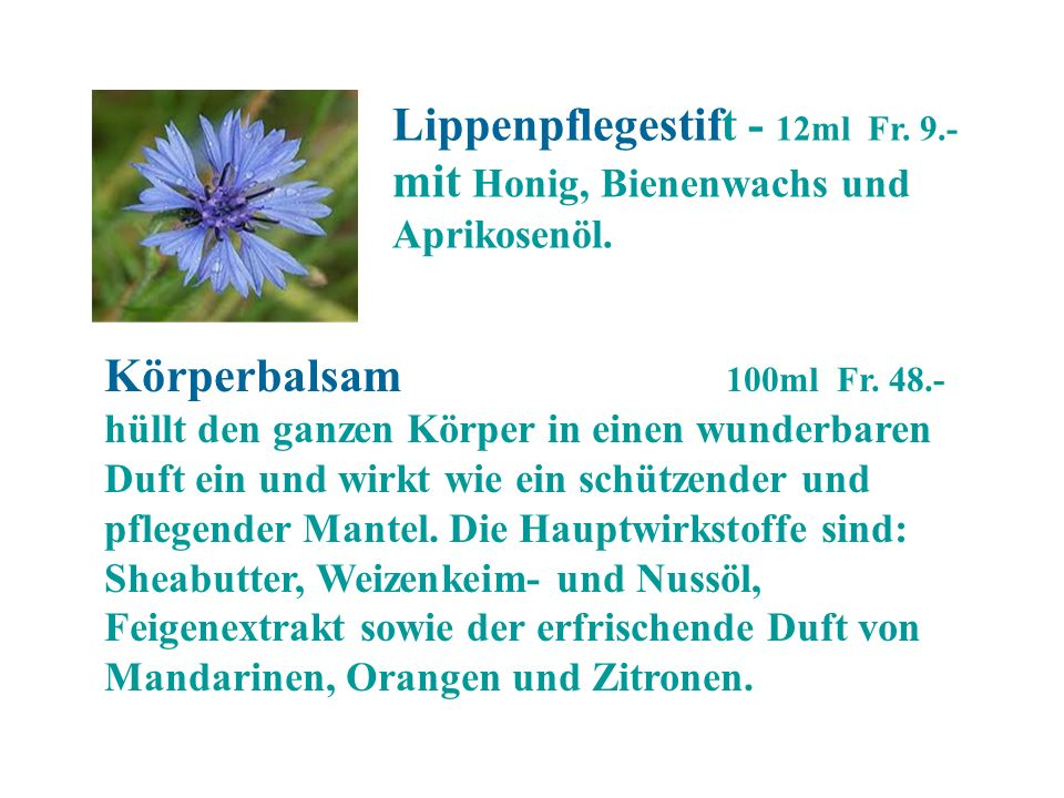 Lippenpflegestift - 12ml Fr. 9.-mit Honig, Bienenwachs und Aprikosenöl.