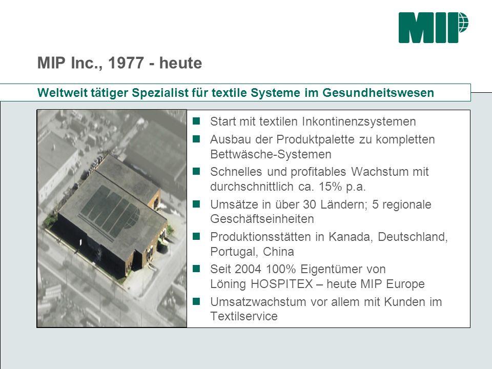 MIP Inc., 1977 - heute Weltweit tätiger Spezialist für textile Systeme im Gesundheitswesen. Start mit textilen Inkontinenzsystemen.