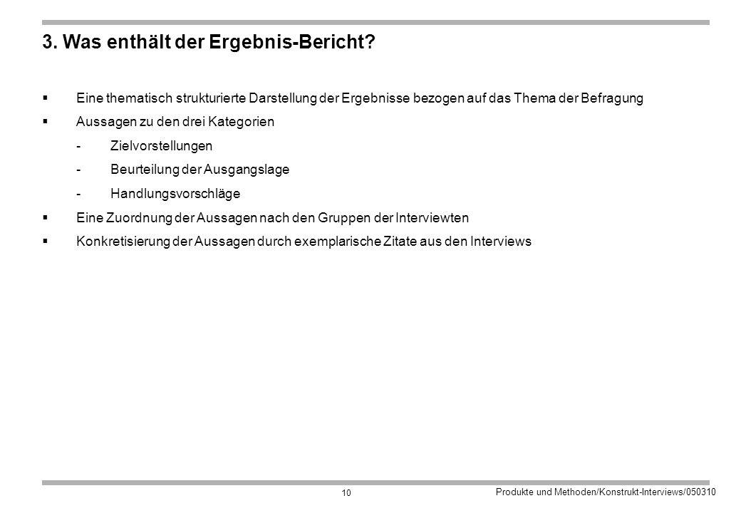 3. Was enthält der Ergebnis-Bericht