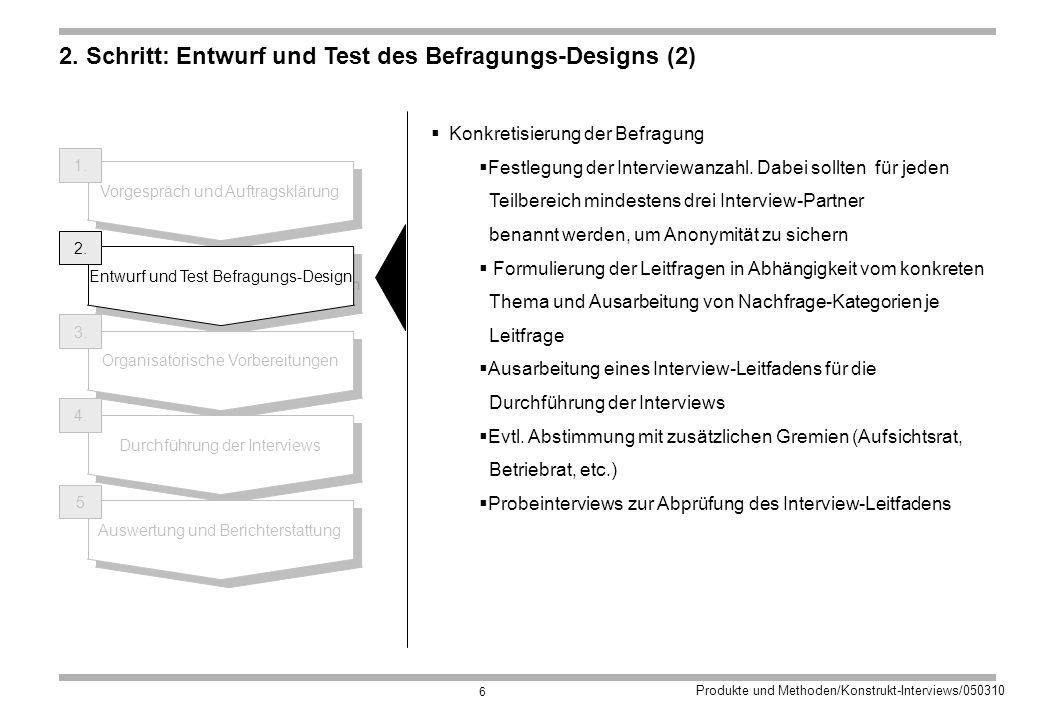 2. Schritt: Entwurf und Test des Befragungs-Designs (2)
