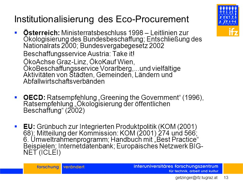 Institutionalisierung des Eco-Procurement