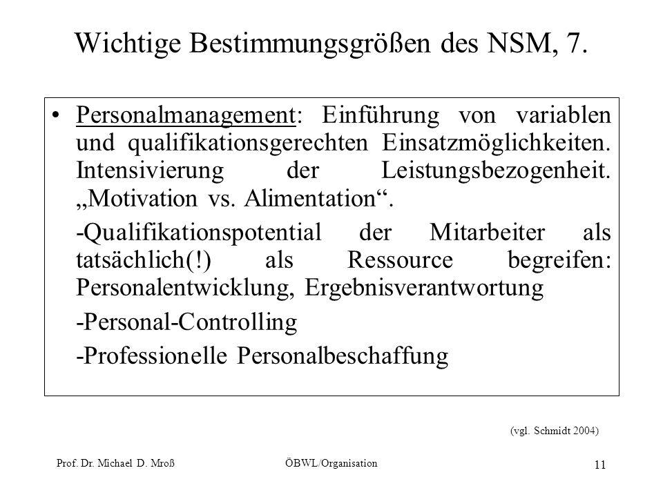 Wichtige Bestimmungsgrößen des NSM, 7.