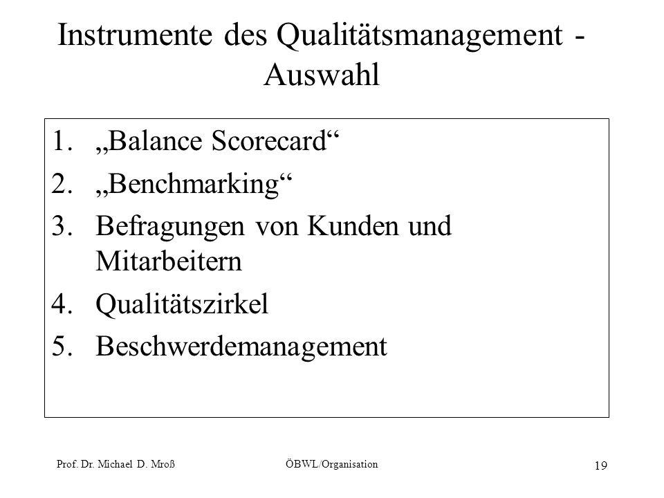 Instrumente des Qualitätsmanagement - Auswahl