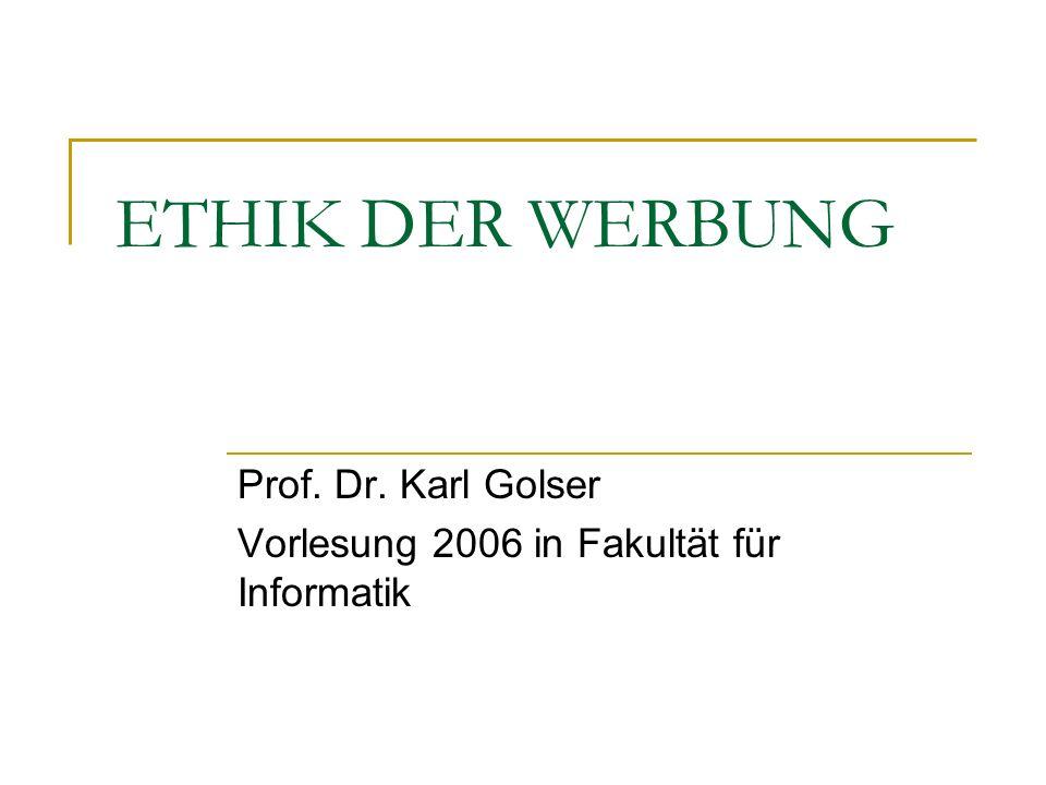 Prof. Dr. Karl Golser Vorlesung 2006 in Fakultät für Informatik