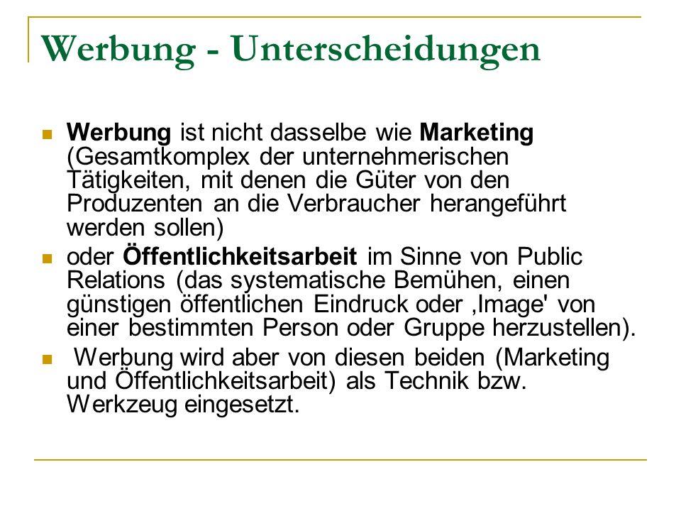 Werbung - Unterscheidungen