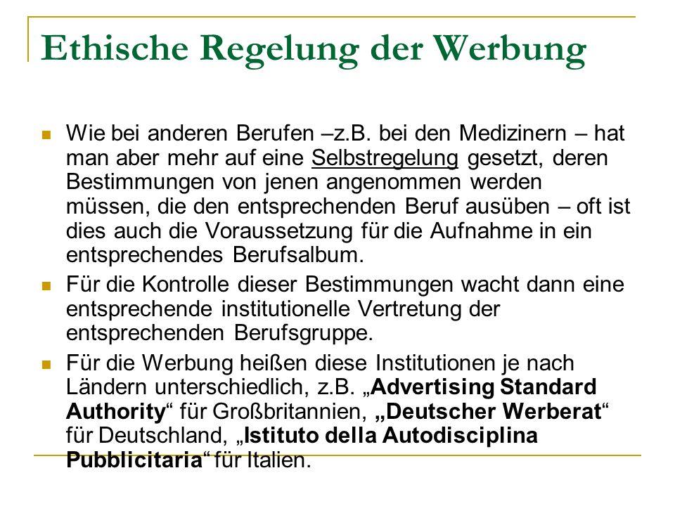 Ethische Regelung der Werbung