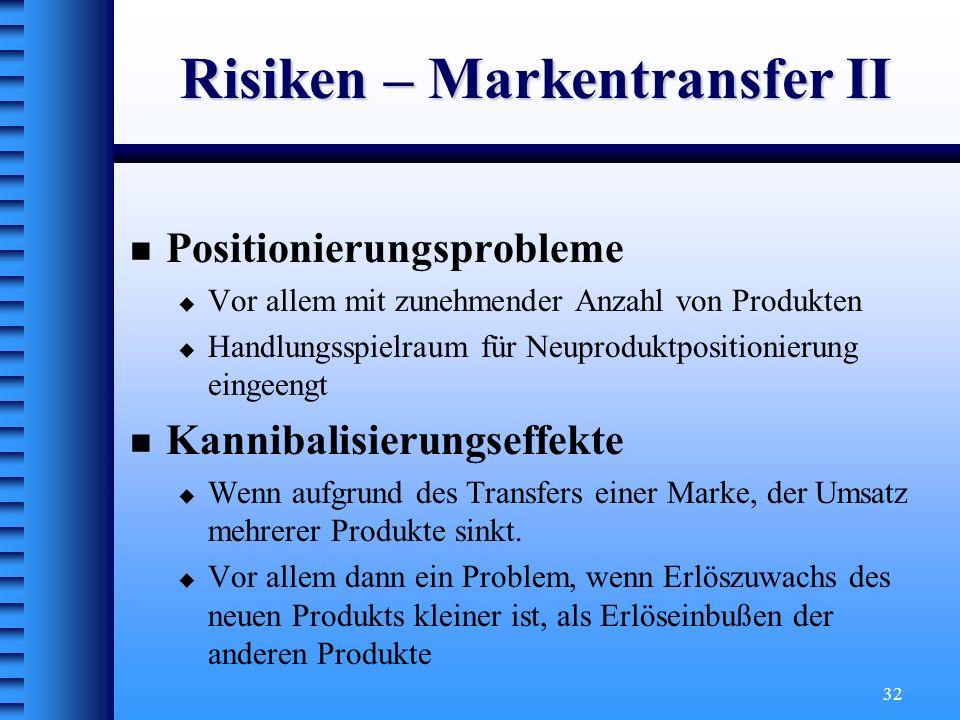Risiken – Markentransfer II
