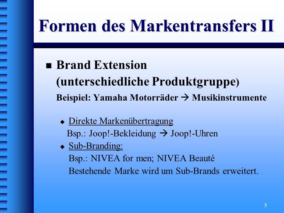 Formen des Markentransfers II