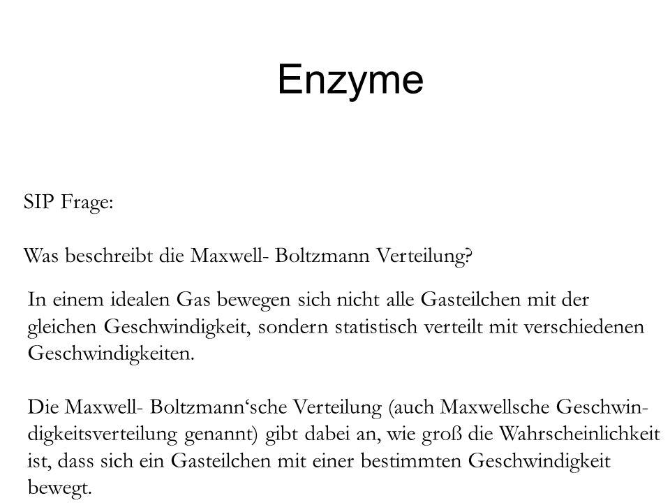 Enzyme SIP Frage: Was beschreibt die Maxwell- Boltzmann Verteilung
