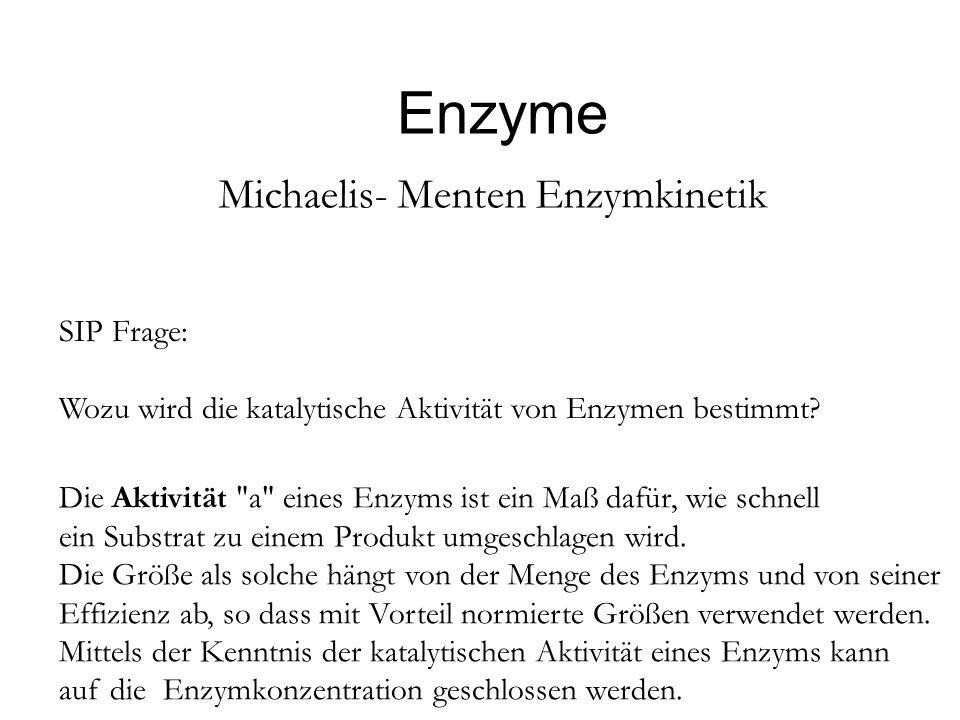 Enzyme Michaelis- Menten Enzymkinetik SIP Frage: