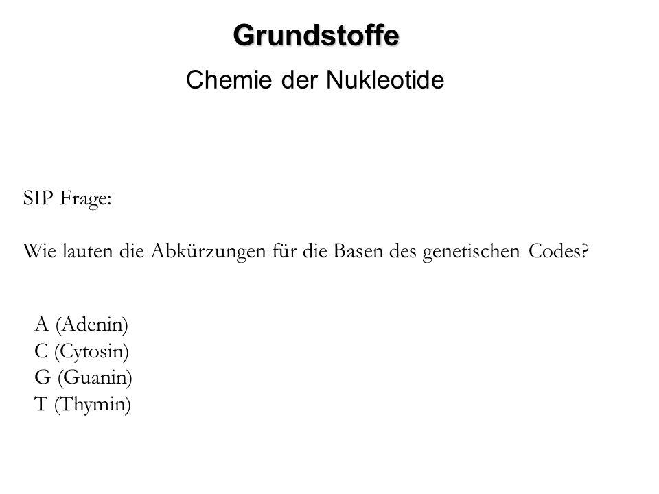 Grundstoffe Chemie der Nukleotide SIP Frage: