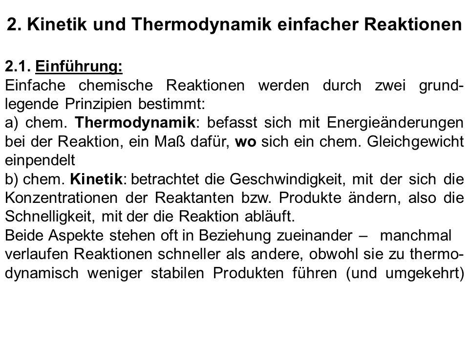 2. Kinetik und Thermodynamik einfacher Reaktionen