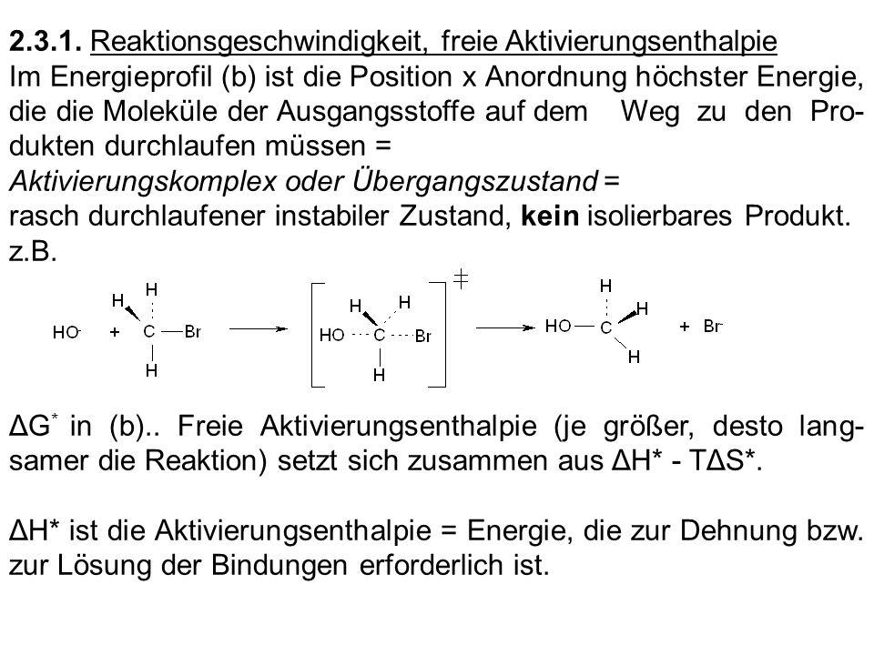 2.3.1. Reaktionsgeschwindigkeit, freie Aktivierungsenthalpie