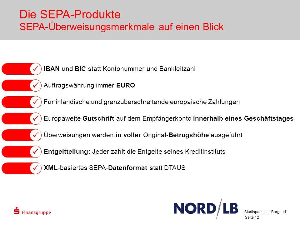 Die SEPA-Produkte SEPA-Überweisungsmerkmale auf einen Blick