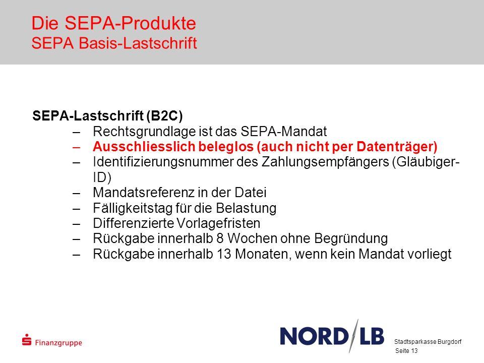 Die SEPA-Produkte SEPA Basis-Lastschrift