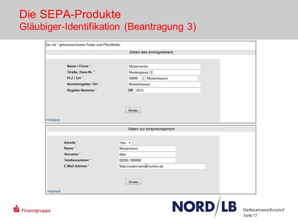 Die SEPA-Produkte Gläubiger-Identifikation (Beantragung 3)