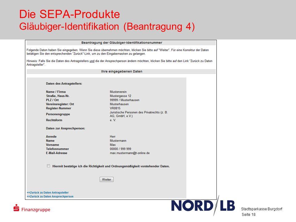 Die SEPA-Produkte Gläubiger-Identifikation (Beantragung 4)