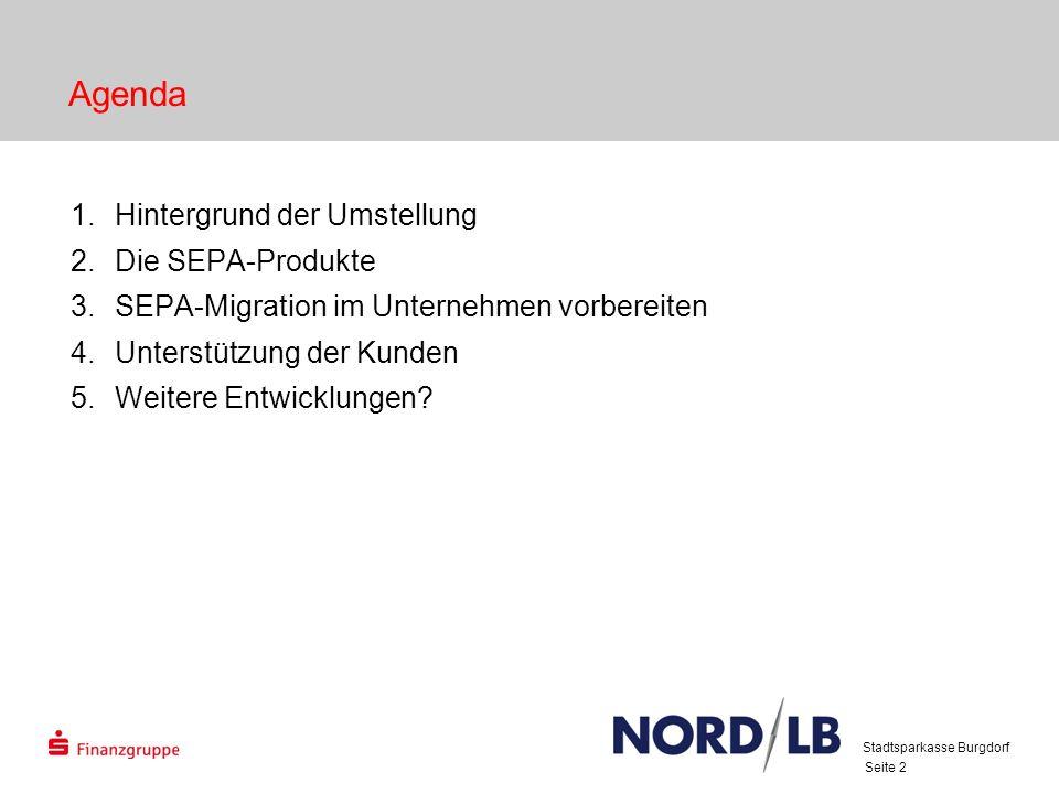 Agenda Hintergrund der Umstellung Die SEPA-Produkte