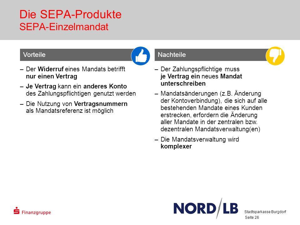 Die SEPA-Produkte SEPA-Einzelmandat