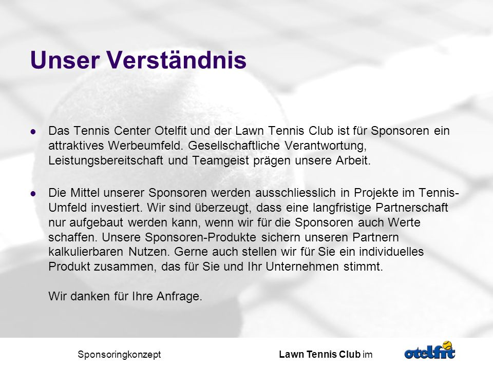 Sponsoringkonzept Lawn Tennis Club im