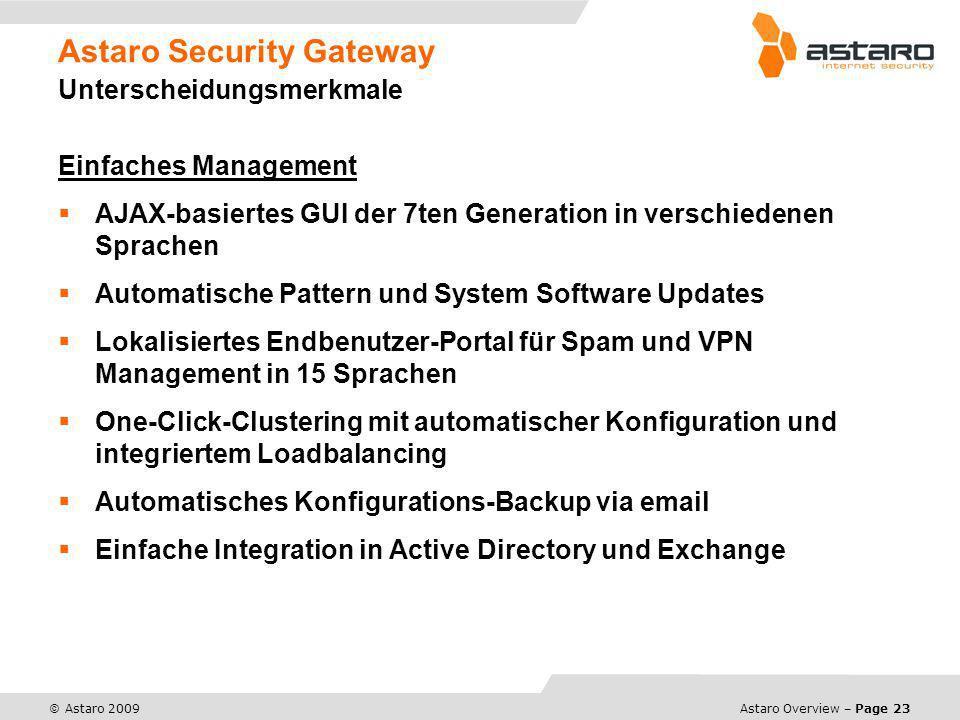 Astaro Security Gateway Unterscheidungsmerkmale