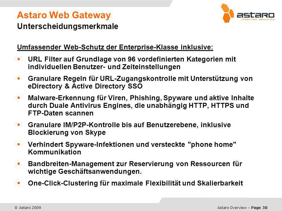 Astaro Web Gateway Unterscheidungsmerkmale