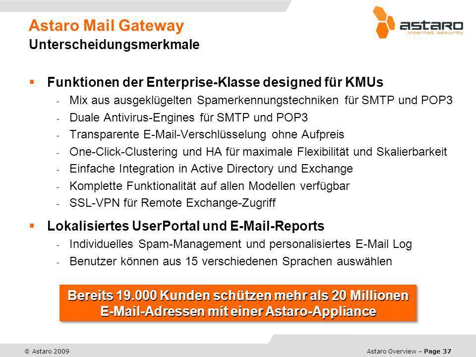 Astaro Mail Gateway Unterscheidungsmerkmale